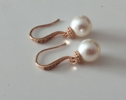 Rose Gold Pearl Earrings Wedding Jewelry Dangle Earrings Bridesmaid Jewelry Ivory Pearl Earrings