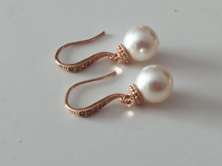 Rose Gold Pearl Earrings Wedding Jewelry Dangle Earrings Bridesmaid Jewelry Ivory Pearl Earrings