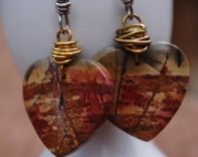 Picture Jasper, Sterling & Bronze Dangle Earrings