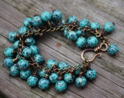 Teal and Brass One of a Kind Bracelet