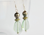 Spring Dangle Earrings, Pale Greens and Silver, Easter earrings,