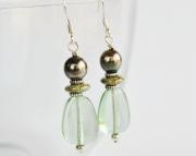 Spring Dangle Earrings, Pale Greens and Silver, Easter earrings,