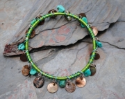 Bangle Bracelet - All Wrapped Up Turquoise and Shell
