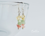 Spring Dangle Earrings, Gemstone chip earrings, Citrine, Aventurine, cherry quartz, Easter earrings