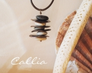 Stacked Beach Stone Necklace, Copper Discs, Brown leather cord for Women or Men