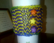 Knitted Cup Cozy in Rainbow