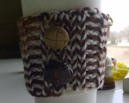 Knitted Cup Cozy in Browns