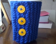 Knitted Cup Cozy in Bright Blue
