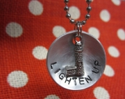 Metal Stamped Damped Silver Lighthouse Charm Necklace
