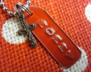 Red and Silver Repurposed Metal Stamped Tag with Cross Charm Necklace