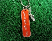 Red and Silver Repurposed Metal Stamped Tag with Flip Flop Charm Necklace