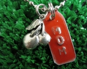 Red and Silver Repurposed Metal Stamped Tag with Cherry Charm Necklace