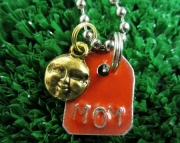 Red and Silver Repurposed Metal Stamped Tag with Gold Sun Charm Necklace