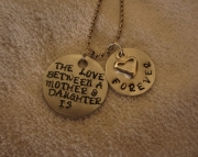 Metal Stamped Mother Daughter Necklace
