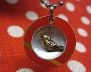 Red and Silver Metal Damped Bird Necklace