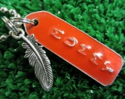 Red and Silver Repurposed Metal Stamped Tag with Feather Charm Necklace