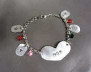 Custom Metal Stamped Mother Aunt Grandma Bracelet with Childrens Initials