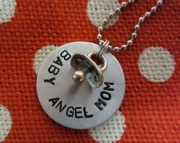 Metal Stamped Pregnancy Infant Loss Memorial Necklace BABY ANGEL MOM