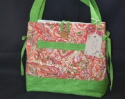 Red & green paisley purse