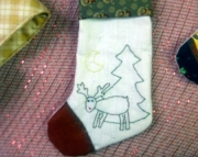 Primitive stocking w/rudolph