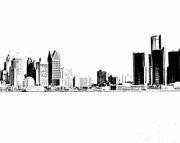 Detroit Panoramic Skyline Print 8x12