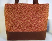 Rust and Gold Leaf Print Tote