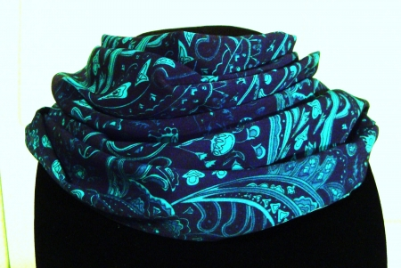 Infinity ScarfSilky ScarfGorgeous Teal and Turquoise Paisley on a Navy Background