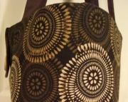 Large Tote Bag-Book Bag- Diaper Bag-Purse-Brown Caramel Tan Circle Pattern On Black Background