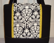 Large Tote BagBook BagDiaper BagPurseBlack Damask Print with Yellow Accents
