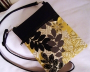 Yellow and Black Leaf Print Crossbody Kindle Bag