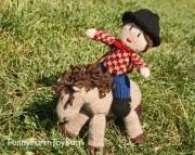 Knitted Cowboy Doll Western Gun Slinging Waldorf Insipired