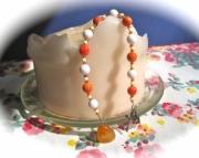 Orange and White Prayer Beads