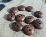 Ten Small Wood Buttons in Black Walnut