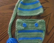 crochet pixie hat and diaper cover