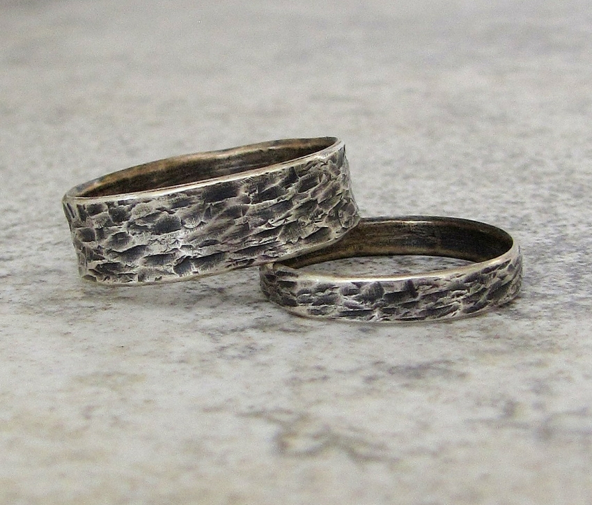 Silver Wedding Bands Distressed Bark Wedding Rings Handmade Michigan