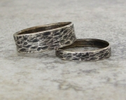 Silver Wedding Bands Distressed Bark Wedding Rings
