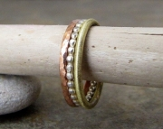 Stacking Hammered Silver Dot Copper Brass Rings- Elements