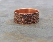 Hammered Copper Ring Antiqued Reptile Band