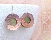 Copper Brass Earrings Hammered Circle Disc