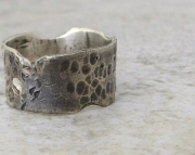 Distressed Hammered Silver Ring Antiqued Destroyed Band- Love Is a Battlefield