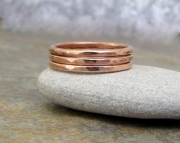 Copper Stacking Rings Hammered Faceted