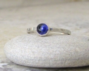 Iolite Rings Silver Stacking Gemstone Ring- Midnight Blue