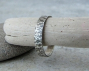 Silver Distressed Ring Antiqued Band
