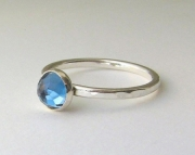 Blue Topaz Ring Silver Solitaire Engagement Ring London Blue Topaz Silver Ring