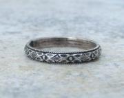 Antiqued Wedding Ring Silver Floral Band