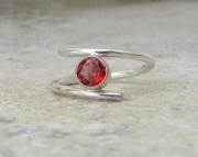 Red Garnet Ring Silver