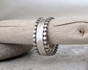 Hammered Silver Ring Band & Stacking Dot Rings