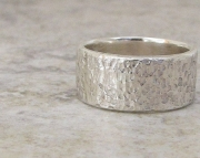 Mens Silver Ring Hammered Distressed Wide Thick Band- Heavy Duty