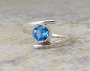 Blue Topaz Ring Silver London Blue Topaz Silver Ring Solitaire Engagement Ring