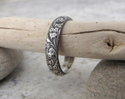 Silver Floral Ring Antiqued Band Wedding Band